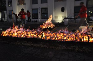 Firewalking fire getting ready