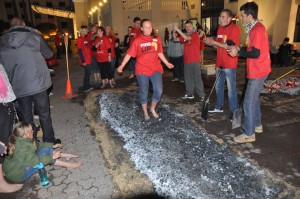 Young girl firewalking